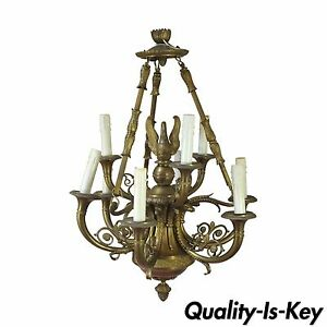Antique Bronze French Empire Neoclassical Style Figural Swan Trumpet Chandelier
