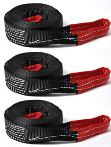 3 2 8000 Lbs Tow Strap 30 Ft Winch Off road Atv Utv Snatch Vehicle Recovery