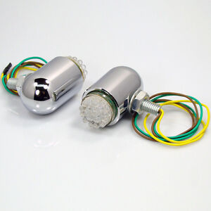 2x Chrome 24 Led White Fog Light Harley Universal Motorcycle Turn Signal