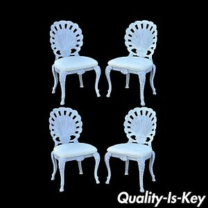 4 Vintage Pulaski Hollywood Regency Cast Iron Shell Grotto Patio Dining Chairs