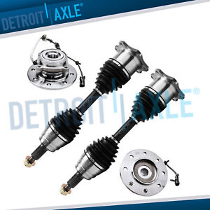 Complete 4pc New Wheel Hub Front Cv Axle Shaft Set For Chevy Gmc 4wd 8 Lug