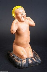 Cast Iron Ml Corp Painted Yawning Child Girl Statue Door Stop Antique