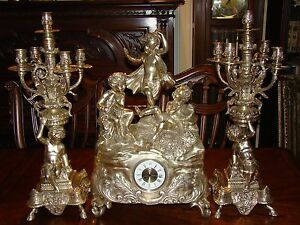 Vtg Bronze Brass Victorian Style Hoof Footed Ornate Clock 2 Candle Holders