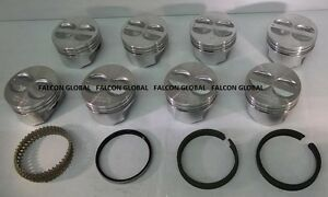 Chevy 350 5 7 Sealed Power federal Mogul Cast Flat Top Pistons moly Ring Kit Std