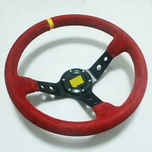 Universal 350mm Red Suede Racing Deep Dished Steering Wheel 14 Sport New 004
