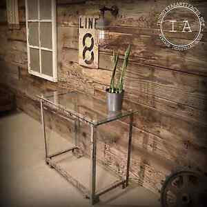 Vintage Industrial Factory Metal Stand Glass Top Side End Hall Plant Table Steel