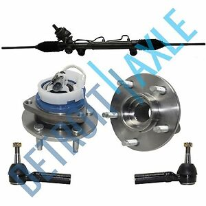 Complete Rack And Pinion 2 New Outer Tie Rod 2 Wheel Hub Bearing Assembly