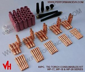 83pcs Usa Tig Collet Back Cap Cup Kit 17 18 26 Series Welding Torch Consumables