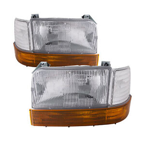 Headlights Pair Fits 92 1996 Ford F150 92 97 F250 1992 1996 Bronco 6 Piece