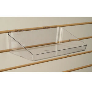 Slatwall Acrylic Tray Bin 11 L X 6 D Clear Also Fits Pegboard 5 Pieces