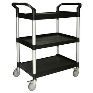 Bus Cart Utility Cart For Commercial Kitchen 3 Shelves Black
