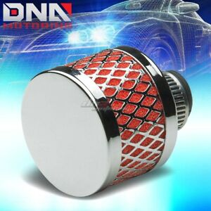 9mm Universal Crankcase Valve Vent Mesh Red Air Intake Filter Breather Clamp