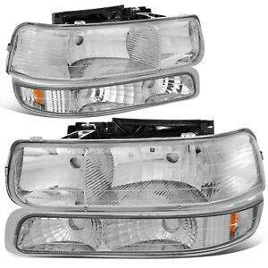 For 1999 2002 Chevy Silverado Chrome Housing Amber Corner Headlight Bumper Lamps
