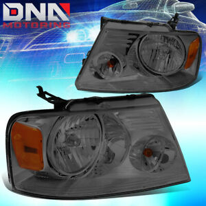 For Ford F150 F 150 2004 2008 Euro Smoked Tint Housing Crystal Amber Headlights