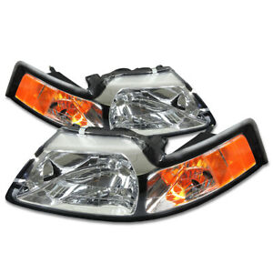 Fit 1999 2004 Ford Mustang Pair Chrome Housing Amber Corner Headlight lamp Set