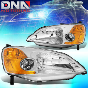 For Honda Civic 2001 2003 Sedan Oem Replacement Chrome Amber Headlights Lamp