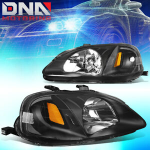 For Honda Civic 1999 2000 Ek Jdm Type r Look Black Housing Amber Headlights