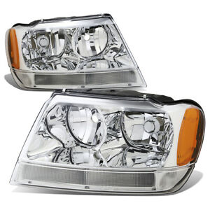 Fit 1999 2004 Jeep Grand Cherokee Chrome Housing Amber Corner Headlight lamp Set