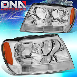 For Jeep Grand Cherokee 99 04 Wj Laredo Limited Chrome amber Headlights 4x4