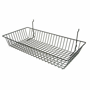 Slatwall Wire Basket Shallow 24 L X 12 D X 4 H Black 6 Pieces