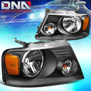 For Ford F150 F 150 2004 2008 Euro Black Tint Housing Crystal Amber Headlights
