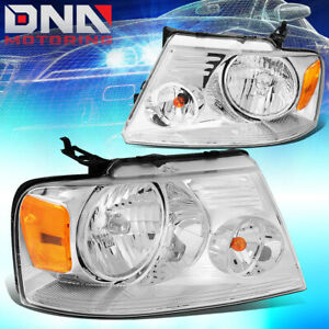 For Ford F150 F 150 2004 2008 Euro Chrome Tint Housing Crystal Amber Headlights