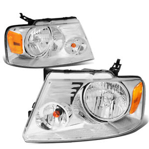 Fit 2004 2008 Ford F150 Pickup Pair Chrome Housing Amber Side Headlight Lamp Set
