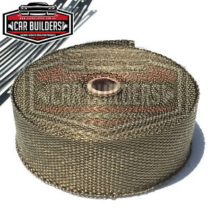 _exhaust Heat Wrap Titanium 15m X 50mm Roll Stainless Ties Heat Insulation