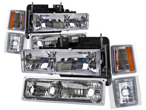 Headlights Set Fits 1994 1998 Chevrolet Suburban Silverado Euro C k 2500 3500