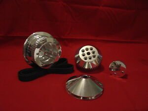 Sbc Long Water Pump Billet Aluminum Gilmer Pulleys With Power Steering Polished