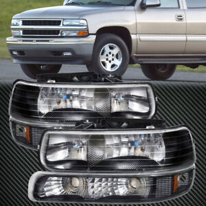 Headlights Set Black Xenon 4pc Fits 99 02 Chevrolet Silverado 00 06 Tahoe