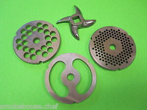 32 Meat Grinder Sausage Stuffing Plate Set Knife For Hobart Lem Cabelas Etc