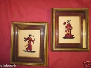 Pair Of Antique Framed Traditional Japanese Embroidery Man Woman