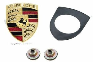 For Front Hood Emblem Crest Logo Sign Kit For Porsche 911 Boxster Cayenne Cayman