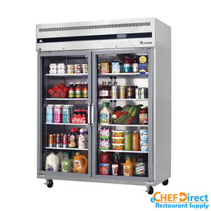 Everest Esgwr2 59 Double Glass Door Reach in Refrigerator