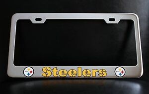 Pittsburgh Steelers License Plate Frame Custom Made Of Chrome Plated Metal