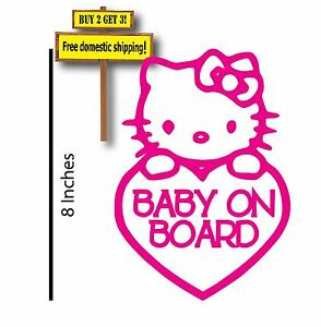Hello Kitty Baby On Board Funny Decal Sticker Family Car