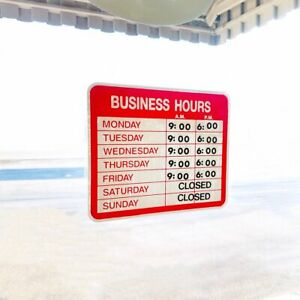 Open Closed Business Hours Window Sign With Time Sheet Stickers Lowest Price