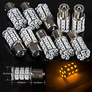 10 X Amber 1156 Ba15s 27 5050 Smd Led Brake Tail Turn Signal Light Bulb Truck Rv