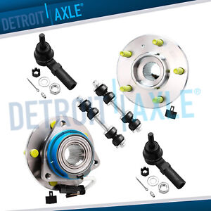 6 Pc Kit 2 Front Wheel Hub And Bearing Fwd W Abs 2 Tie Rod 2 Sway Bar Link