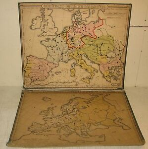 2 Antique 1859 Cornell S Outline Maps Europe Wall Map Colton Us School Maps