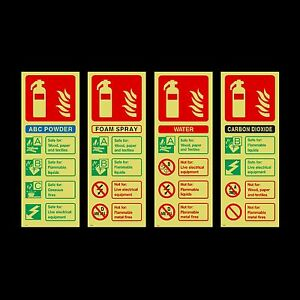 Fire Extinguisher Id Photoluminescent Sign Sticker All Materials