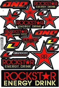 Red Rockstar Energy Motocross Vinyl Graphic Kits Decal Bike Car Sticker R7
