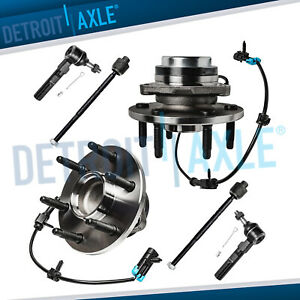 New 6 Pc Kit 2 Front Wheel Hub Bearing Assembly Inner Outer Tie Rod End 2wd