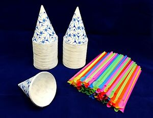 100 Snow Cone Cups 6 Oz With Spoon Straws Quick Free Shipping