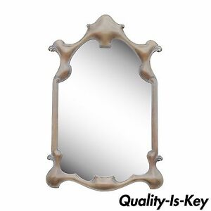Vintage Hollywood Regency French Art Nouveau Style Carved Sculptural Wall Mirror