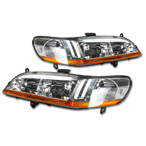 Fit 1998 2002 Honda Accord Pair Chrome Housing Amber Corner Headlight lamp Set