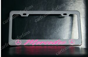 Pink Mercedes License Plate Frame Custom Made Of Chrome Plated Metal
