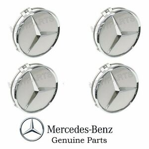 4 Genuine For Mercedes Alloy Wheel Center Star Cover Emblem Badge Hub Cap Set