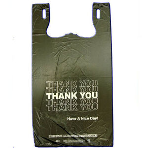 Black T shirt Thank You Plastic Grocery Store Shopping Bag 800 Pcs Free Shipping